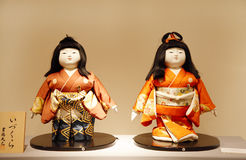 Izukuro Ningya: A pair id Imperial dolls in formal dress. MANAMA, BAHRAIN - MARCH 01: The Dolls of Japan Exhibition on March 01, 2012 in Bahrain on the occasion vector illustration