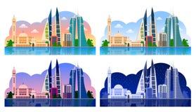 manama bahrein Horizontaal panorama vector illustratie