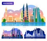 Manama. Beautiful horizontal panoramic view. stock illustration