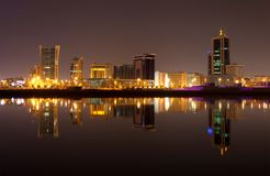 A beautiful view of Bahrain skyline during night Royalty Free Stock Photo