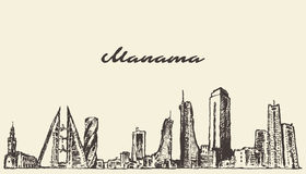 Manama linii horyzontu Bahrajn wektor rysujący nakreślenie Zdjęcia Stock
