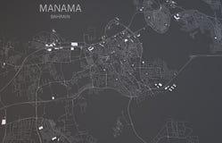 Manama map, Bahrain satellite view Stock Image