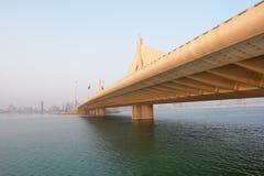 Manama scene from Shaikh Isa bin Salman bridge royalty free stock photography