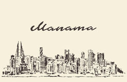 Manama skyline Bahrain vector drawn sketch Royalty Free Stock Image