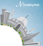 Manama Skyline with Gray Buildings and Copy Space. Royalty Free Stock Photos