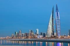 Manama skyline at night, Bahrain Stock Photos