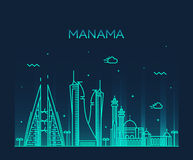 Manama skyline silhouette vector linear style Stock Images