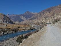 Manang valley and blue Marsyangdi river stock images