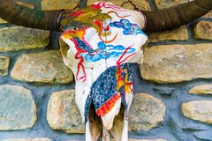 Decorated painted yak skull in Manang village, Nepal royalty free stock images