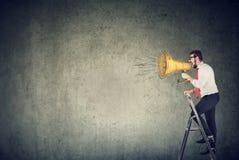 Mananseende på en stege och skrika in i en megafon royaltyfri foto