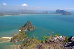 Manao Bay. Ao Manao is one of the most beautiful bays in Thailand. Ao means bay and manao means lime.Both ends of the bay has a hill, Lom Muak hill to the north Royalty Free Stock Image