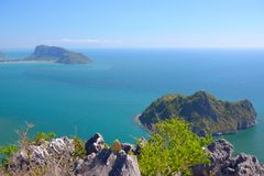 Manao Bay. Ao Manao is one of the most beautiful bays in Thailand. Ao means bay and manao means lime.Both ends of the bay has a hill, Lom Muak hill to the north Stock Photography