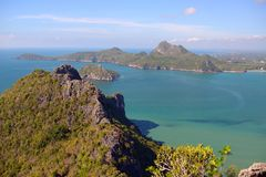 Manao Bay. Ao Manao is one of the most beautiful bays in Thailand. Ao means bay and manao means lime.Both ends of the bay has a hill, Lom Muak hill to the north Stock Photos