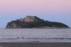 Manao Bay. Ao Manao is one of the most beautiful bays in Thailand. Ao means bay and manao means lime.Both ends of the bay has a hill, Lom Muak hill to the north Stock Images