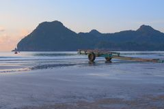 Manao Bay. Ao Manao is one of the most beautiful bays in Thailand. Ao means bay and manao means lime.Both ends of the bay has a hill, Lom Muak hill to the north Royalty Free Stock Photos