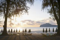 Manao Bay. Ao Manao is one of the most beautiful bays in Thailand. Ao means bay and manao means lime.Both ends of the bay has a hill, Lom Muak hill to the north Royalty Free Stock Photography