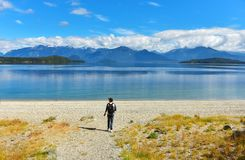 Manapouri lake beach Royalty Free Stock Photos