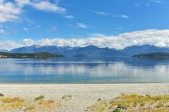 Manapouri lake beach Stock Photos