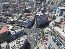 Manara crossroads, downtown Ramallah, aerial photography stock video footage