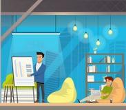 Manarbete i öppet utrymme Coworking royaltyfri illustrationer