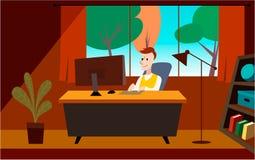 Manarbetet i kontoret Konstillustration stock illustrationer