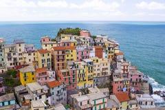 Manarola村庄,在Cinque Terre 免版税图库摄影