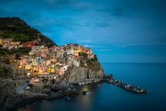 Manarola村庄,意大利的五乡地海岸 库存照片