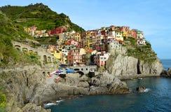 Manarola,一个美丽的村庄在五乡地,意大利 免版税库存照片