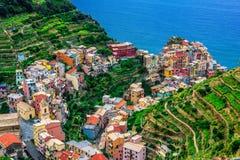 Manarola,利古里亚,意大利美丽如画的镇  库存图片