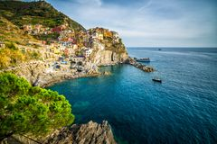 Manarola, ακτή Cinque Terre της Ιταλίας στοκ εικόνα με δικαίωμα ελεύθερης χρήσης