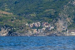 Manarola as seen from the sea side stock images