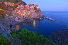 Manarola at the blue hour Royalty Free Stock Photography