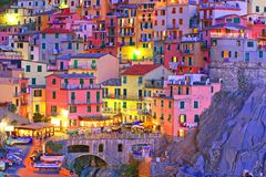 Manarola at the blue hour Stock Image