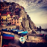 Manarola Breakwall Images libres de droits