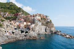 Manarola - Cinque Terre - από τη Λιγουρία θάλασσα Στοκ εικόνες με δικαίωμα ελεύθερης χρήσης