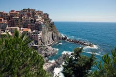 Manarola, Cinque Terre, Лигурия, Италия Стоковое Изображение RF