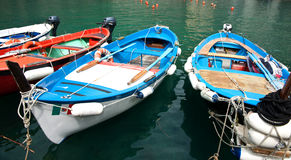 Manarola, Cinque terre, boats. Royalty Free Stock Photo