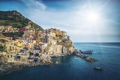 Manarola, Cinque Terre Coast van Italië royalty-vrije stock foto's