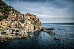 Manarola, Cinque Terre Coast van Italië stock foto's