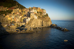 Manarola in Cinque Terre in golden late evening sunlight Royalty Free Stock Image