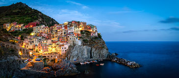 Manarola, Cinque Terre (Italian Riviera, Liguria). High definition panorama at twilight Stock Images
