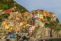 Manarola, Cinque Terre (Italian Riviera, Liguria) at twilight Royalty Free Stock Images