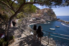 Manarola, Cinque Terre Italy Royalty-vrije Stock Foto's