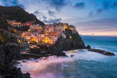 Manarola in Cinque Terre, Italy. Manarola at night, Cinque Terre, Italy Stock Photography