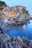Manarola, Cinque Terre, Italy. Manarola small town, from Cinque Terre, Italy, surprised at sunset Stock Images