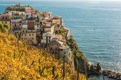 Manarola in CInque Terre. The last of the Cinque Terre a popular Italian tourist destination in the north Ligurian region of Italy. Manarola is popular with royalty free stock photo