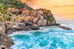 Manarola, Cinque Terre park narodowy, Liguria, Włochy zdjęcia royalty free