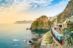Free Manarola, Cinque Terre - Train Station In Famous Village With Colorful Houses On Cliff Over Sea In Cinque Terre Royalty Free Stock Photography - 155683577