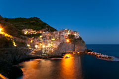 Manarola in dusk Stock Photography
