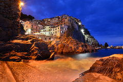 Manarola at dusk. Cinque Terre. Liguria. Italy Royalty Free Stock Photos